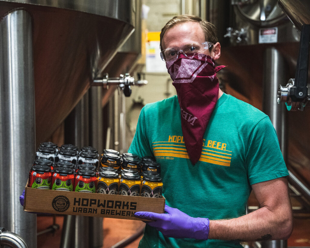 Local B Corp Collaboration Between Hopworks and Looptworks Turns 300+ Cases of Beer Into More Than 400 Masks for Central City Concern